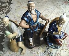 Three Vintage Chinese Shiwan Mudman Colour Glazed Porcelain Figurines