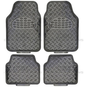 Full Metal Design Car Floor Mats Heavy Duty Metallic 4 pc Front Rear Set Carbon
