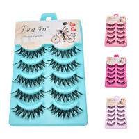 Makeup 5 Pairs Natural Long Fake Eyes Lashes Handmade Thick False Eyelashes A!
