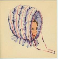 VINTAGE 1940'S VICTORIAN PIONEER WOMAN WAGON COLLAPSIBLE BONNET CARD OLD PRINT