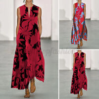 Womens Sleeveless Floral Party Gown Evening Dresses Ladies Loose Long Maxi Dress
