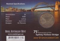 2007 $1 Coin M Mint Mark 75th Anniversary Sydney Harbour Bridge