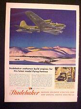 1944 WWII Studebaker Airplane~Aircraft Fellander Model Flying Fortress Print AD