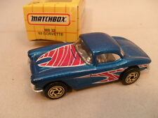 1983 MATCHBOX LESNEY SUPERFAST #71 1962 62 Weiß Corvette Neu IN Verpackung