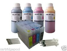 4 Refillable ink cartridge for Brother LC75 MFC-J625DW  MFC-J6510DW + 4X10oz/s