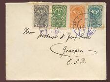 AUSTRIA 1919 MINI ENVELOPE 4 COLOUR FRANKING to CZECH REPUBLIC...RUDOLF MENDL