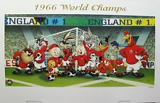 LOONEY TUNES 1966 Soccer World Champs England Art Lithograph (Football)