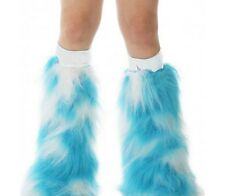 s TrYptiX White Turquoise Gogo Boot Cover Fluffies W/ White Kneebands