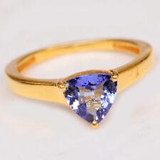 585er Gelbgold 1,30Ct Billion Form 100% natürliche blaue Tansanit Verlobungsring