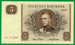 Sweden 5 Kronor 1963 Pick # 50b , UNC