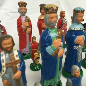 Vintage Chess Set by E.S. Lowe No. 833 Milton Bradley Hand painted