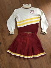Vintage High School Cheerleader Cardinal Gold 80s Varsity Outfit