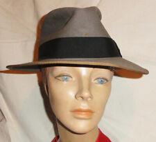 New listing Vintage 1950s mens Mallory Premier Fedora wide brim Gray 7-1/4