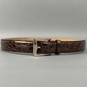 GUCCI Size 34 Brown Alligator Belt