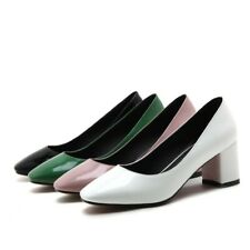 Ladies Square Toes Shoes Synthetic Leather Med Block Heels Pumps US Size s216