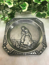 Antique Vintage Embossed Holland Pewter Ashtray Dutch Children At The Beach