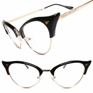 Classy Elegant Retro Cat Eye Style Clear Lens Eye Glasses Gold & Black Frame