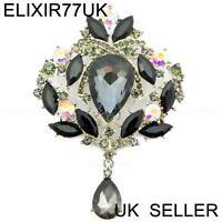 NEW SILVER LARGE FLOWER BROOCH BLACK CRYSTAL DIAMANTE BRIDAL WEDDING VINTAGE PIN