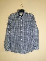 Brooks Brothers 1818 Regent Size L Men's button down shirt Blue White Plaid EUC