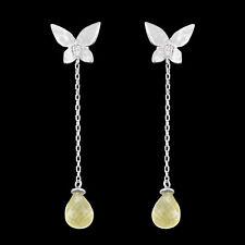 100% NATURAL 8X6MM CITRINE BUTTERFLY DESIGN BRIOLETTE GEM SILVER 925 EARRING