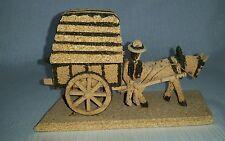 Folk Art Donkey Cart Made Out Of Cork
