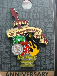 HARD ROCK CAFE*SACRAMENTO,CALIF*1ST ANNIVERSARY*PIN*BRAND NEW RELEASE ON CARD