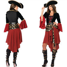 Halloween Ladies Adult Women Pirate Buccaneer Captain Fancy Dress Costume Outfit