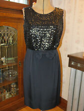"Vintage 1960s Kabro of Houston Black Sequin Cocktail Dress ""Little Black Dress"""