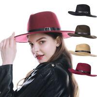 Ladies Fedora Hats Wide Brim Panama Bucket Hats Wineter Trilby Jazz Warm Hats