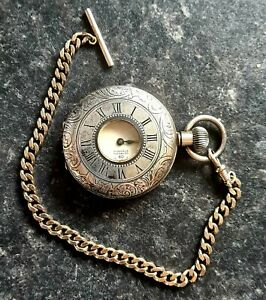 J.W.Benson Silver Plated Half Hunter Pocket Watch  - Fully Working