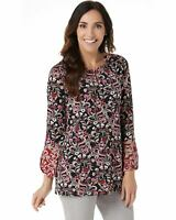 Susan Graver Womens Printed Liquid Knit Tunic with Keyhole 1X Black/Wine A368810