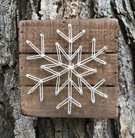 "Winter Snowflake Primitives by Kathy String Art Box Sign, 4.5"" x 4.5"""