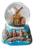 New Souvenir Snowdome Netherlands Holland Amsterdam Snowglobe windmill 100mm
