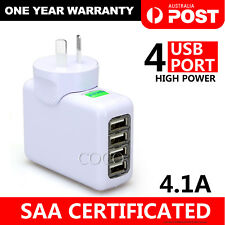 4 USB Port AU Plug 4.1A AC Power Travel Home Wall Charger Adapter For Smartphone