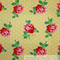 BonEful FABRIC FQ Cotton Quilt Yellow White Dot Red Pink Rose Flower Shabby Chic