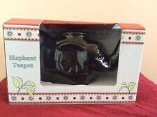NEW Elephant Tea Pot Black Porcelain Cordon Bleu International 28 Oz Trunk Up