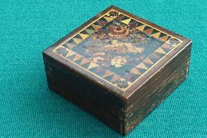 Very Unusual Original Boxed Small Tunbridge Ware Box