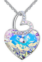 Two Heart  Necklace Chain Crystal Pendant made with SWAROVSKI elements