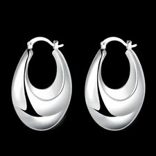 Fashion 925Sterling Solid Silver Jewelry Bright Hoop Earrings For Women E711