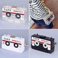Transparent Tape Cassettes Evening Clutch Bag Handbag Shoulder Purse Wallet Box
