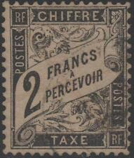 "FRANCE STAMP TIMBRE TAXE N° 23 "" TYPE DUVAL 2 FRANCS NOIR "" OBLITERE TB J894"