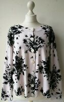 TALBOTS Cardigan XL white black floral 100% pima cotton long sleeve buttons