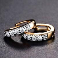 18k Gold Platinmu Filled Cubic Zirconia Unique Vintage Huggie Earrings Jewelry