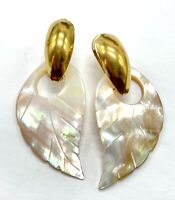 Beautiful Vintage Gold Tone Mother Of Pearl Carved Leaves Dangle Drop Earrings