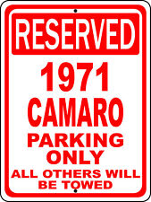 "1971 71 Camaro Chevy Novelty Reserved Parking Street Sign 9""X12"" Aluminum"