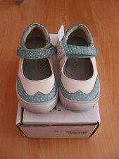 Girls Vertbaudet white/green real leather mary janes shoes, size 10 UK / 28 Euro