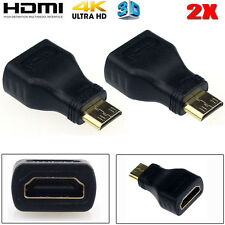 2PCS Mini HDMI MASCHIO TIPO C A Femmina ADATTATORE CONNETTORE PER 1080p 3D TV