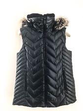 BCBGeneration Black Down Jacket Puffer Vest Women With Faux Fur Hood-Sz M