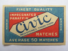 CIVIC MATCHES MATCH BOX LABEL c1950s NORMAL SIZE BELGIUM MADE