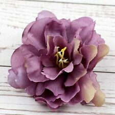 "10P Plum 3"" Artificial Silk Rose Peony Big Carnation Flower Heads Bulk DIY Craft"